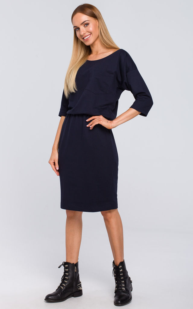 Midi Dress with Chest Pocket in Navy Blue by MOE