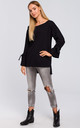 Cotton Pullover with Tied Sleeves in Black by MOE