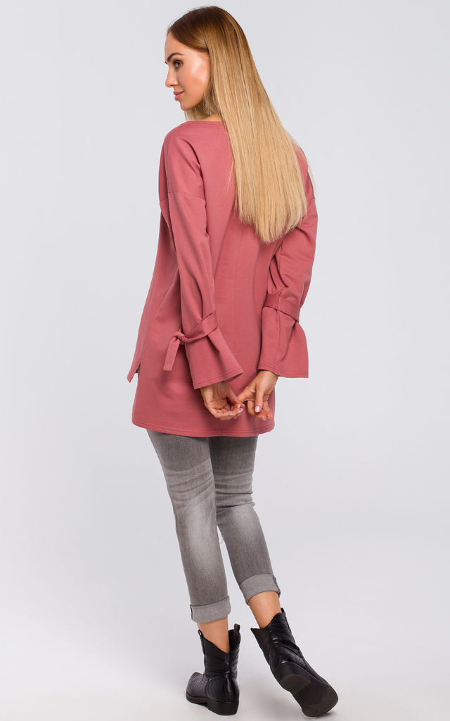 Cotton Pullover with Tied Sleeves in Pink by MOE