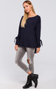 Cotton Pullover with Tied Sleeves in Navy Blue by MOE