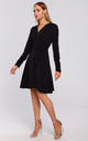 Wrap Dress with Gathered Sleeves in Black by MOE