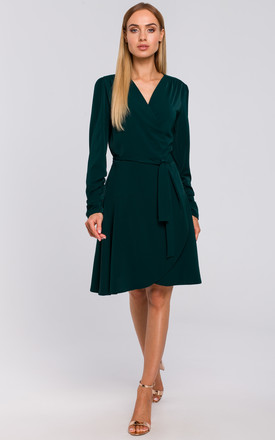Wrap Dress with Gathered Sleeves in Green by MOE