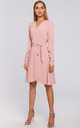 Wrap Dress with Gathered Sleeves in Pink by MOE