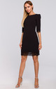 Black Mini Dress with Open Back and Lace Trim by MOE