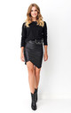 Mini Dress with Eco Leather Detail in Black by Makadamia