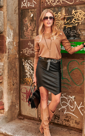 Mini Dress with Eco Leather Detail in Brown/Black by Makadamia