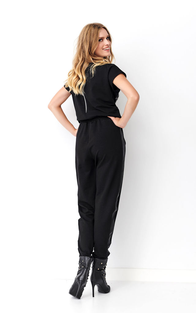 Black Sporty Jumpsuit with Chest Pocket by Makadamia