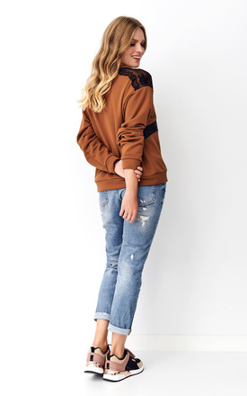 Brown Sweatshirt with Lace and Eco-Leather Details by Makadamia