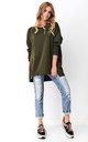 High Low Oversized Sweatshirt in Khaki by Makadamia
