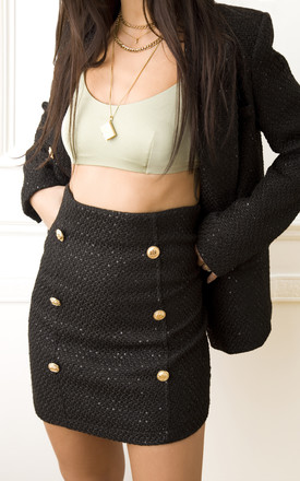 Carry Sequin Mini Skirt in Black Tweed by Lavand Stories
