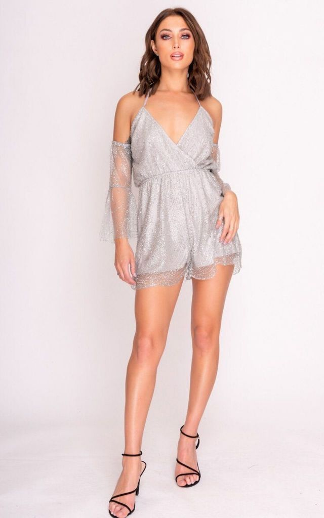 Cold Shoulder Playsuit in Silver Glitter by Hachu