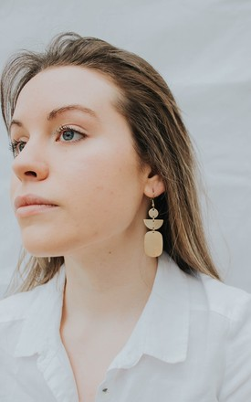 Sarah Geometric Drop Earrings In Gold Tone Brass by Ohemaa Jewellery Product photo
