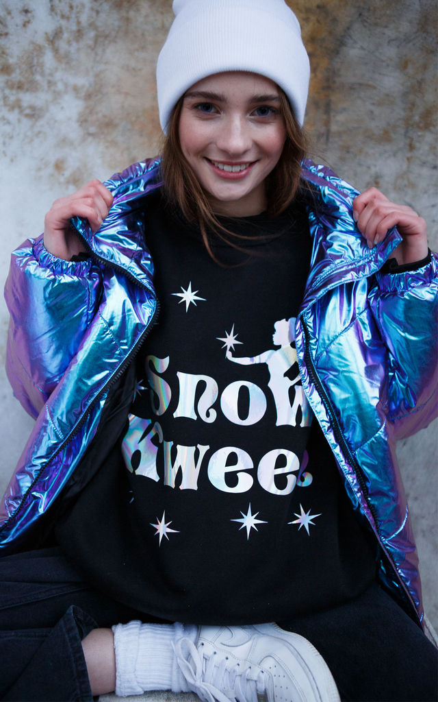 Black Sweatshirt with Snow Kween Fairytale Slogan by Batch1