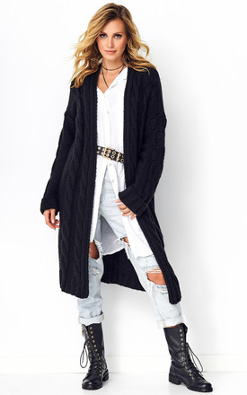 Black Longline Cable Knit Cardigan by Makadamia