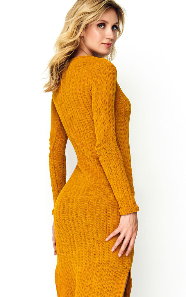 Long Sleeve Knitted Dress with Slits in Yellow by Makadamia