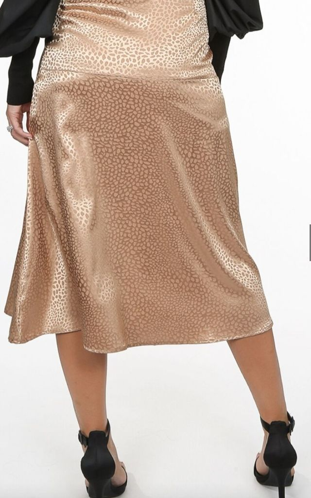 Beige Satin Leopard Texture Bias Skirt by FOXY FROX