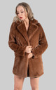 Longline Faux Fur Coat in Chocolate Brown by Saint Genies
