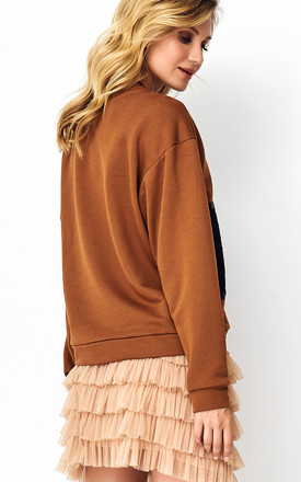 Sweatshirt with Lace Details in Camel by Makadamia
