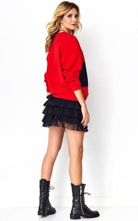 Sweatshirt with Lace Details in Red by Makadamia