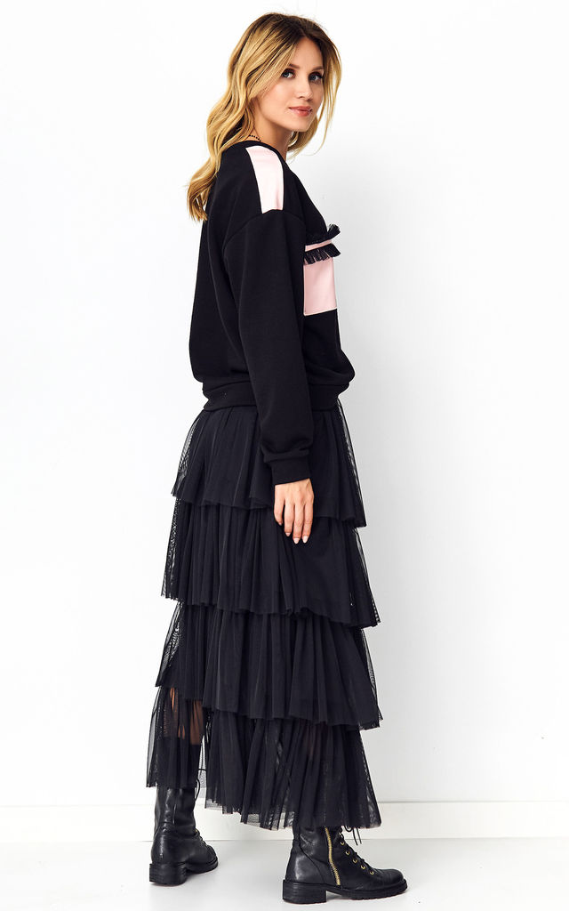 Maxi Tulle Skirt in Black by Makadamia