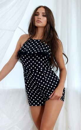 Halter Neck Playsuit In Black Polka Dot by STEREOBLONDES