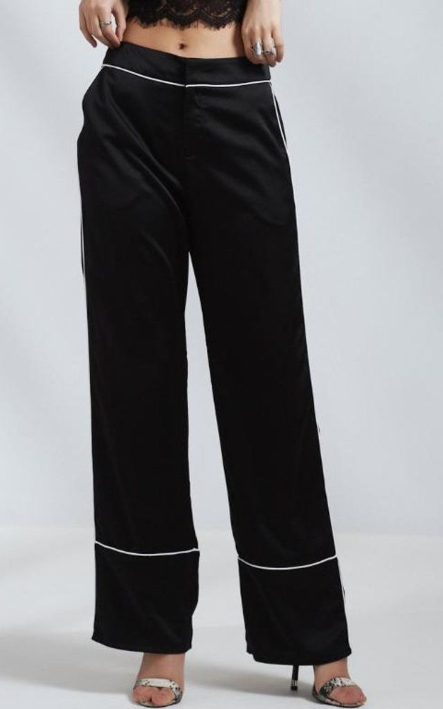 Wide Leg Trousers In Black Satin by STEREOBLONDES