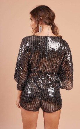 Plunge Neck Playsuit In Silver Sequin by STEREOBLONDES