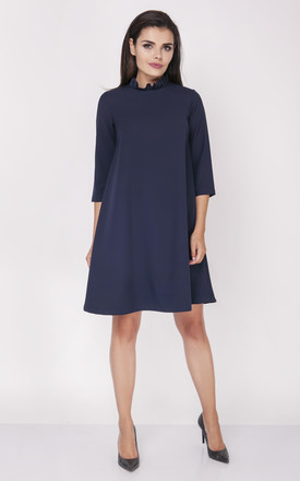Swing Dress with Frill Neck in Navy Blue by Bergamo