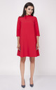 Swing Dress with Frill Neck in Red by Bergamo