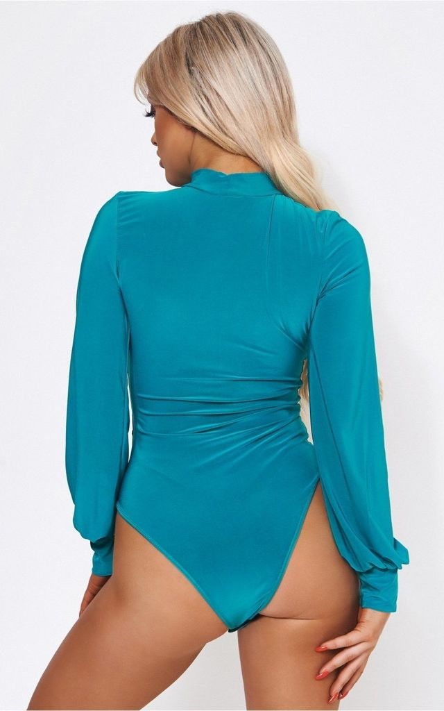 LAMADA JADE GREEN KEYHOLE BODYSUIT by The Fashion Bible