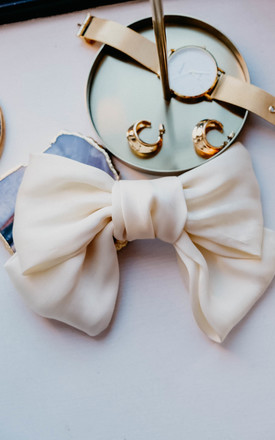 Brie White Satin Big Bow Hair Clip Barrette by Ajouter Store Product photo
