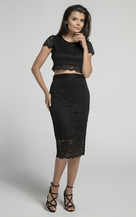 Pencil Lace Skirt with High Waist in Black by Bergamo