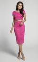 Pencil Lace Skirt with High Waist in Dark Pink by Bergamo
