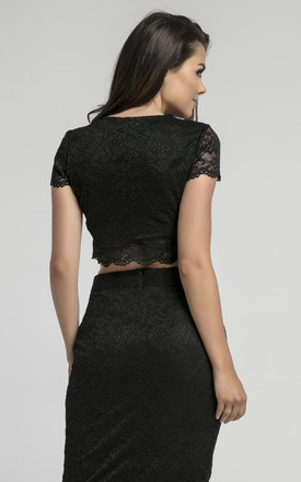 Short Sleeve Lace Crop Top in Black by Bergamo