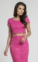 Short Sleeve Lace Crop Top in Dark Pink by Bergamo