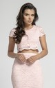 Short Sleeve Lace Crop Top in Light Pink by Bergamo