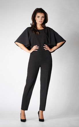 Frill Cape Sleeve Jumpsuit in Black by Bergamo
