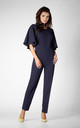 Frill Cape Sleeve Jumpsuit in Navy Blue by Bergamo