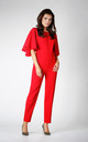 Frill Cape Sleeve Jumpsuit in Red by Bergamo
