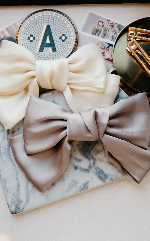 Brie Grey Satin Bow Hair Clip by Ajouter Store