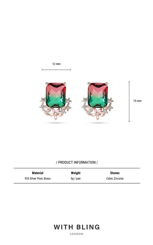 Multi Coloured Gem Stud Earrings by With Bling
