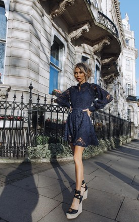 Sienna Long Sleeve Lace Dress In Navy by Anne Louise Boutique Product photo