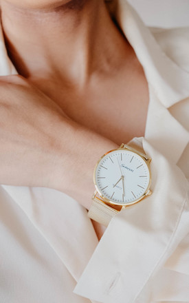 Emilia Round Mesh Watch In Gold by Ajouter Store Product photo