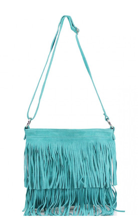 Real suede leather tassel turquoise handbag by Hello Handbag