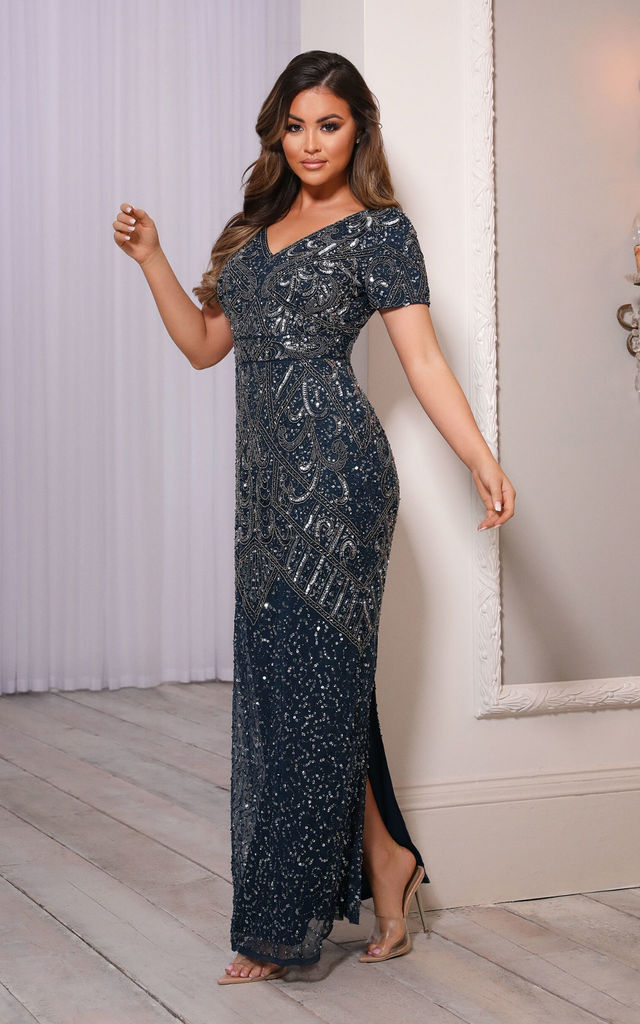 LORIE NAVY EMBELLISHED MAXI DRESS by Sistaglam