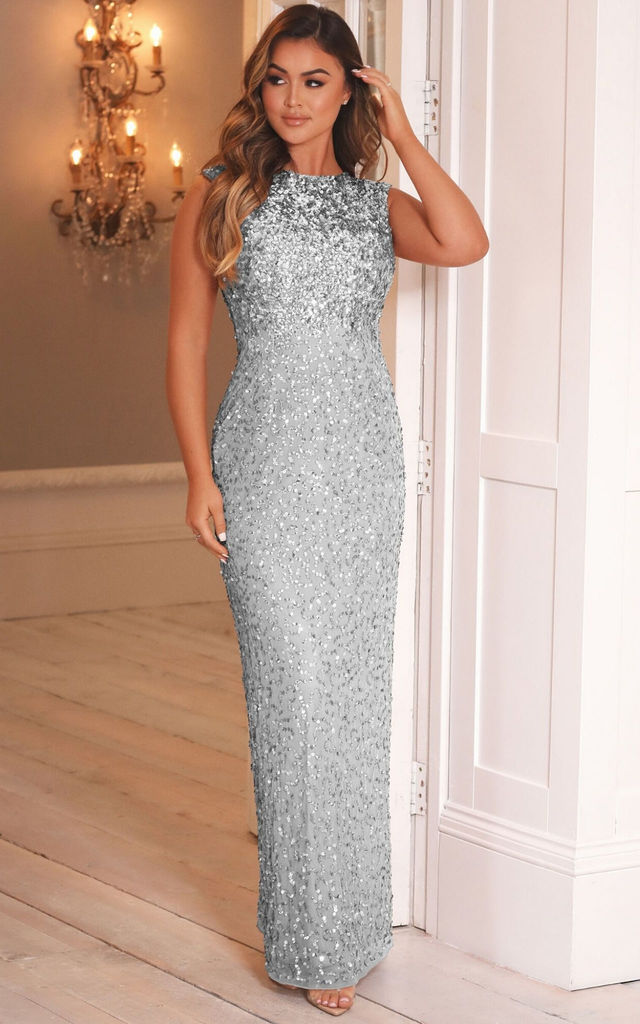 BLAKELY ALL OVER SEQUIN MAXI DRESS IN SILVER by Sistaglam