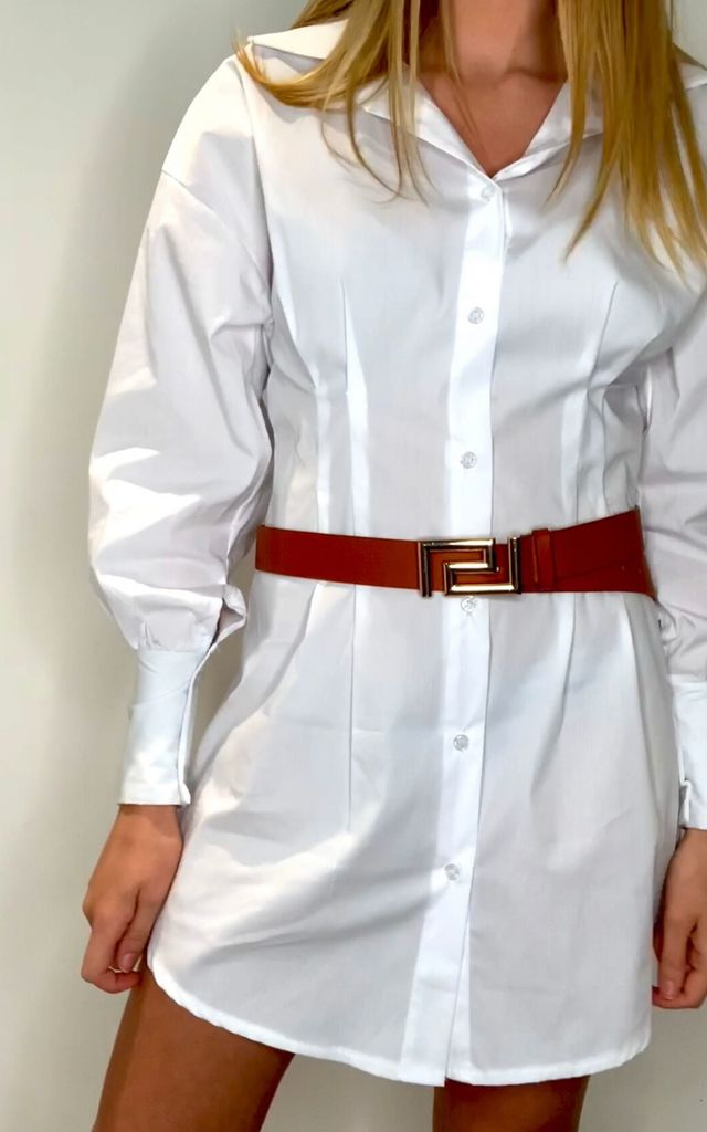 Tan Belt with gold Geometric Buckle by Unscripted