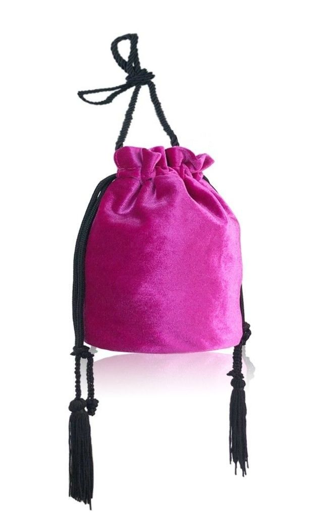 Bright pink velvet drawstring handbag by Hello Handbag