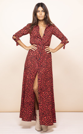 Dove Dress In Ruby Red Leopard by Dancing Leopard Product photo