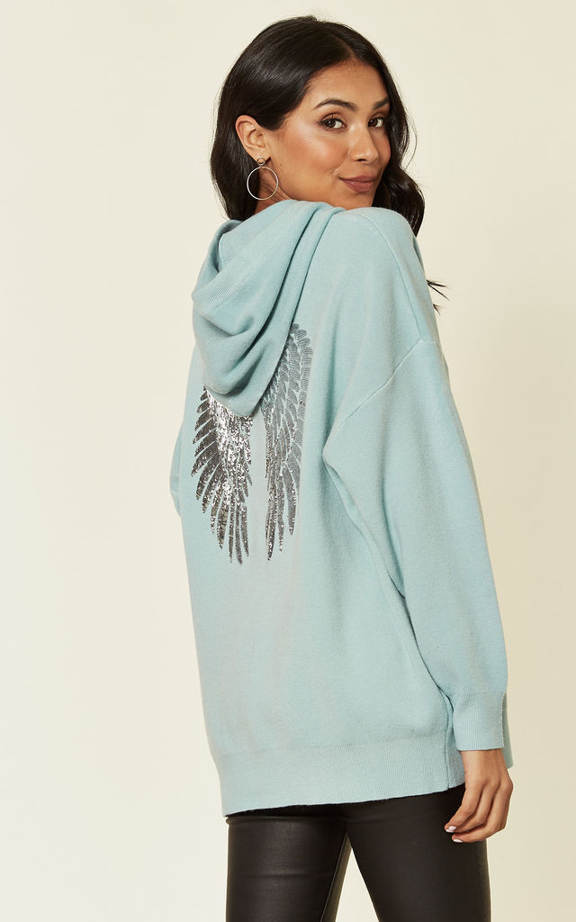 Green Knitted Hoodie with Angel Wings by HOXTON GAL